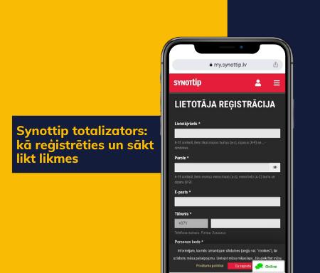 Synottip totalizators: kā reģistrēties un sākt likt likmes